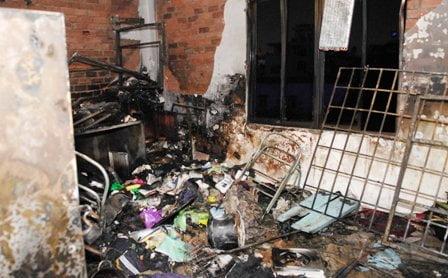 Căn phòng xảy ra cháy bị thiêu rụi hoàn toàn