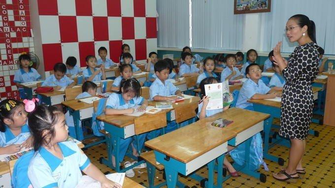 Một tiết học của học sinh lớp 1 Trường tiểu học Lê Ngọc Hân, quận 1