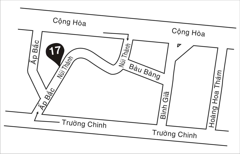 Sơ đồ đường đi đến địa điểm mới - Số 17 Núi Thành - P.13 - Q. Tân Bình - Tp. HCM