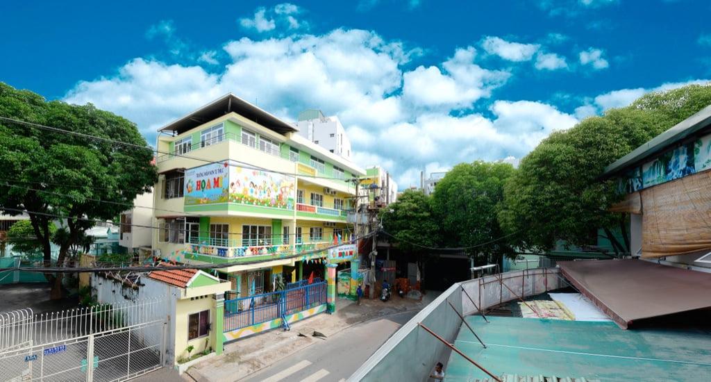 Cảnh quan trường mầm non Họa Mi từ trên cao